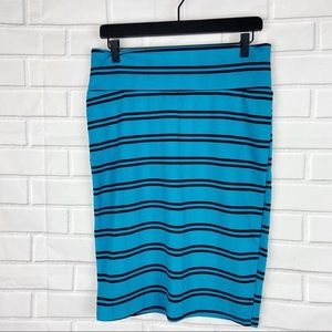 Lularoe Cassie fitted pencil striped skirt Large L